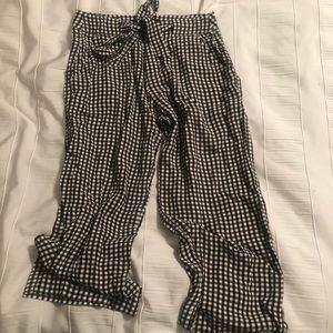 Dark Brown Gingham Cropped Pants By Anthropologie